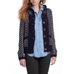 Anthro {Monogram} Navy & Cream Wool Hooded Sweater